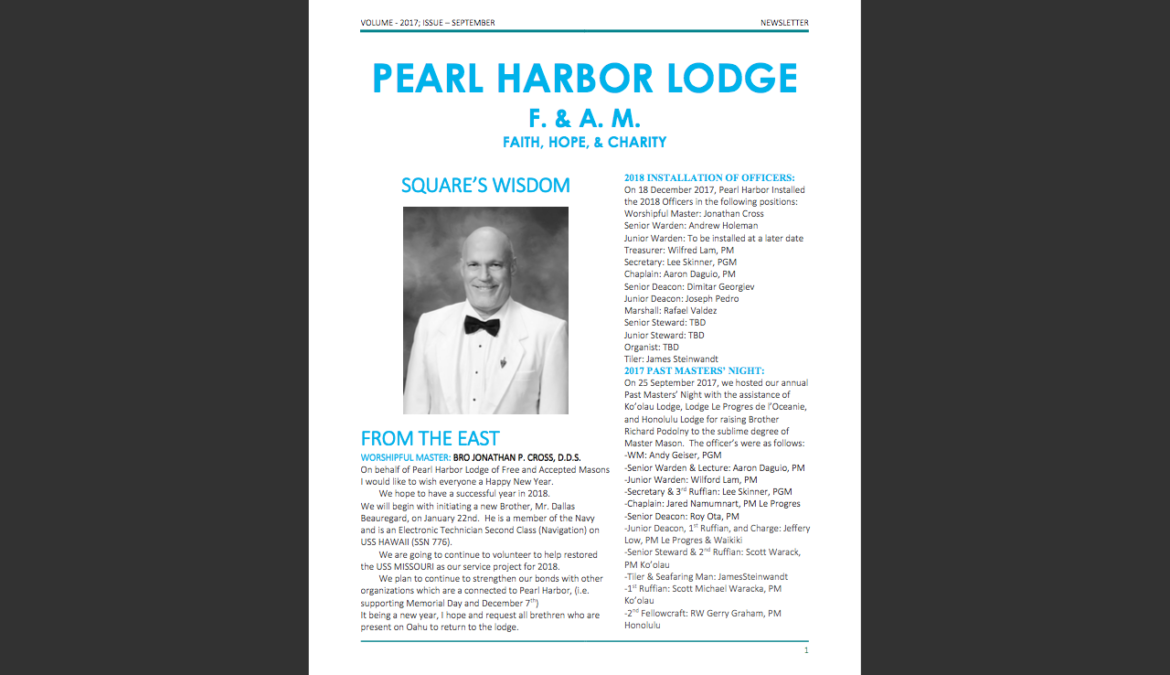 Lodge Newsletter-January 2018